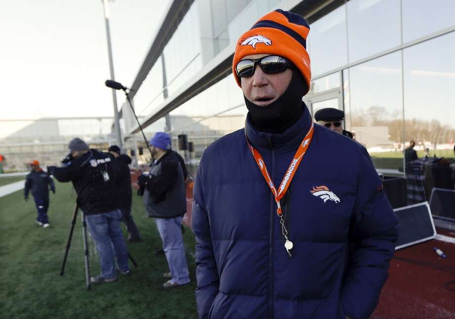 Denver Broncos head coach John Fox is bundled against the cold as he supervises a practice Wednesday, Jan. 29, 2014, in Florham Park, N.J. The Broncos are scheduled to play the Seattle Seahawks in the NFL Super Bowl XLVIII football game Sunday, Feb. 2, in East Rutherford, N.J. Photo: Mark Humphrey, Associated Press
