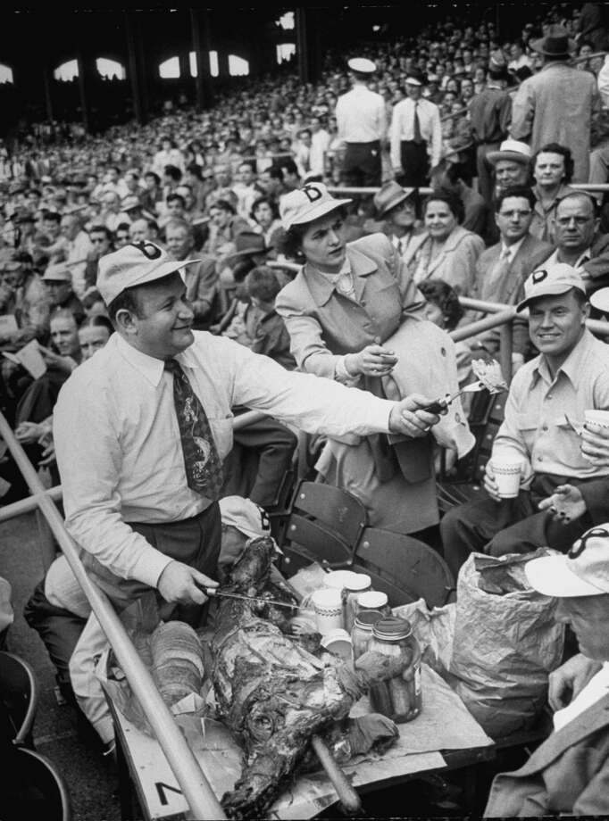 Boston Red Sox fans invade the Chicago White Sox' Comiskey Park with barbecued lamb, 1951. Photo: Ralph Crane, Time & Life Pictures/Getty Image