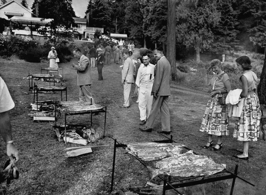 Washington Gov. John D. Lodge at a salmon barbeque in 1953. Photo: Ed Clark, Time & Life Pictures/Getty Image