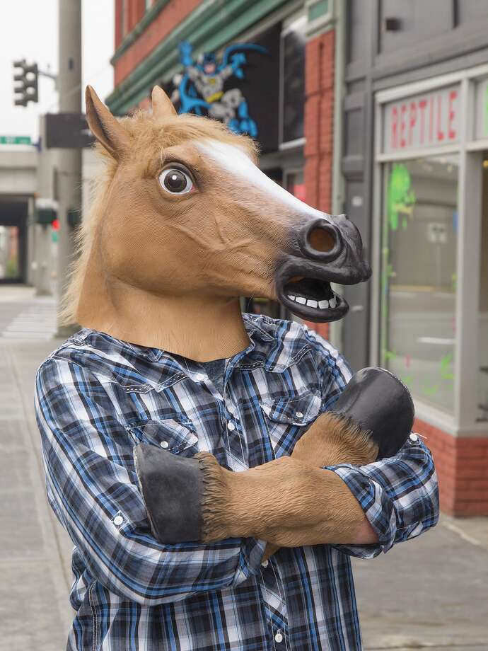 The hilarious and unsettling Horse Head Mask by Archie McPhee. Photo: Archie McPhee