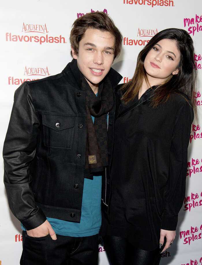 (L-R) Austin Mahone and Kylie Jenner attend the Aquafina Flavorsplash concerts at Bryant Park on January 29, 2014 in New York City. Photo: Noam Galai, WireImage / 2014 Noam Galai