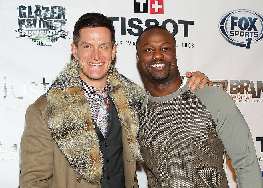 Steve Weatherford (L) and Bart Scott attends the 2014 Super Bowl Kickoff Players Party at Pranna Restaurant on January 29, 2014 in New York City. Photo: Robin Marchant, Getty Images / 2014 Robin Marchant