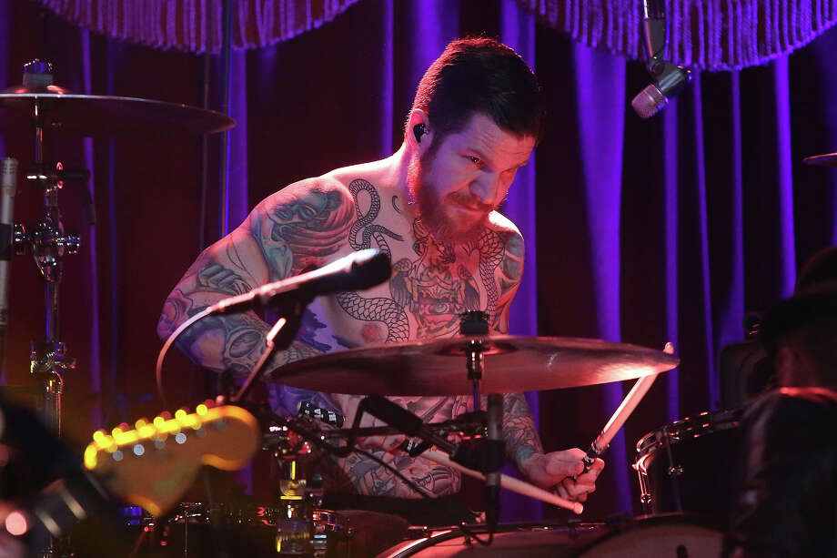 "Andy Hurley of Fall Out Boy performs during VH1's ""Super Bowl Blitz: Six Nights + Six Concerts"" at Brooklyn Bowl on January 29, 2014 in the Brooklyn borough of New York City. Photo: Taylor Hill, FilmMagic / 2014 Taylor Hill"