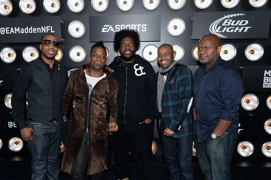 "(L-R) MC Black Thought, guitarist ""Captain"" Kirk Douglas, DJ Questlove, tuba player Damon ""Tuba Gooding, Jr."" Bryson, and producer James Poyser of The Roots attend the Bud Light Madden Bowl at The Bud Light Hotel on January 30, 2014 in New York City. Photo: Andrew H. Walker, Getty Images / 2014 Getty Images"