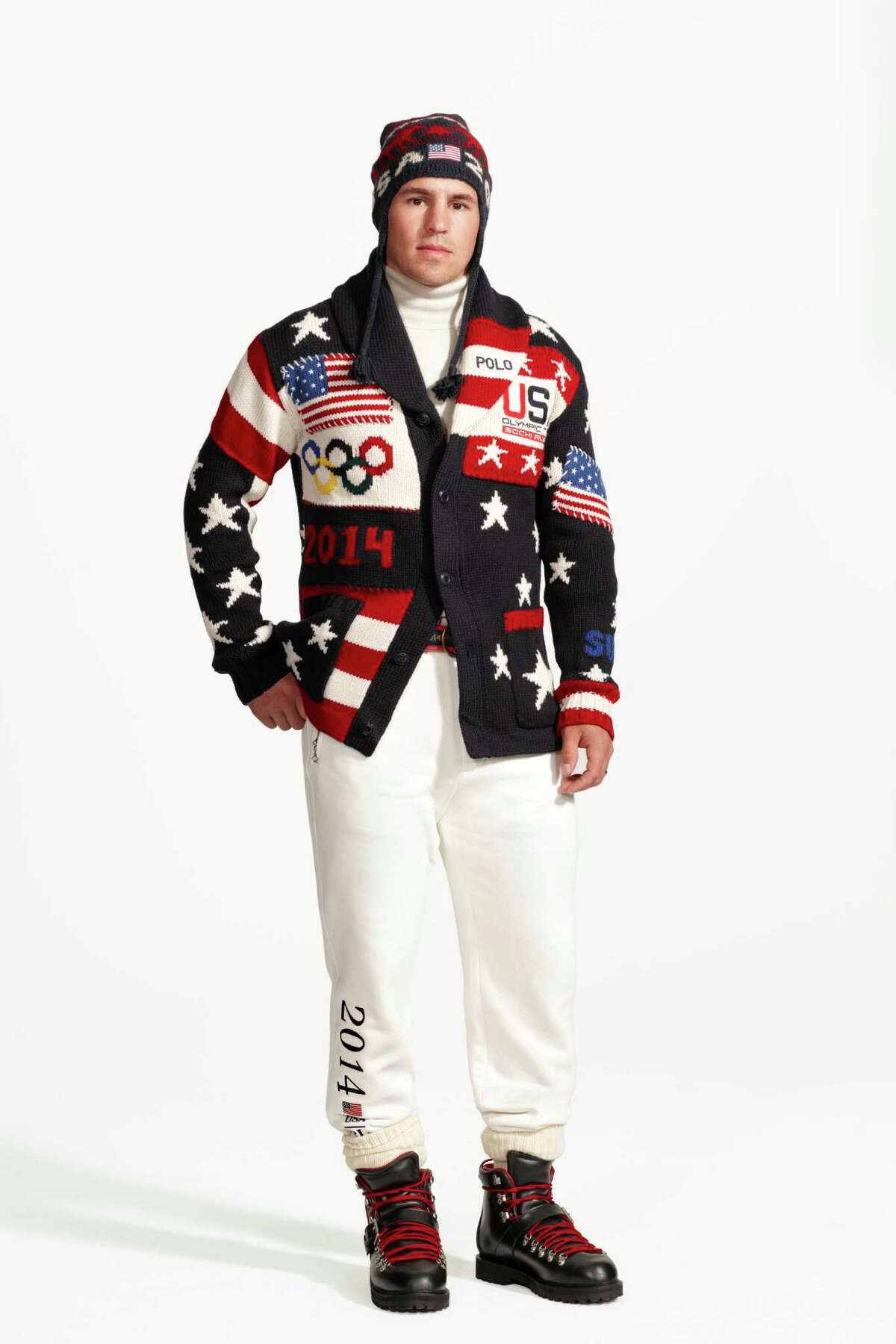 Hockey players Julie Chu, above, and Zach Parise model the official Team USA opening ceremony uniforms.
