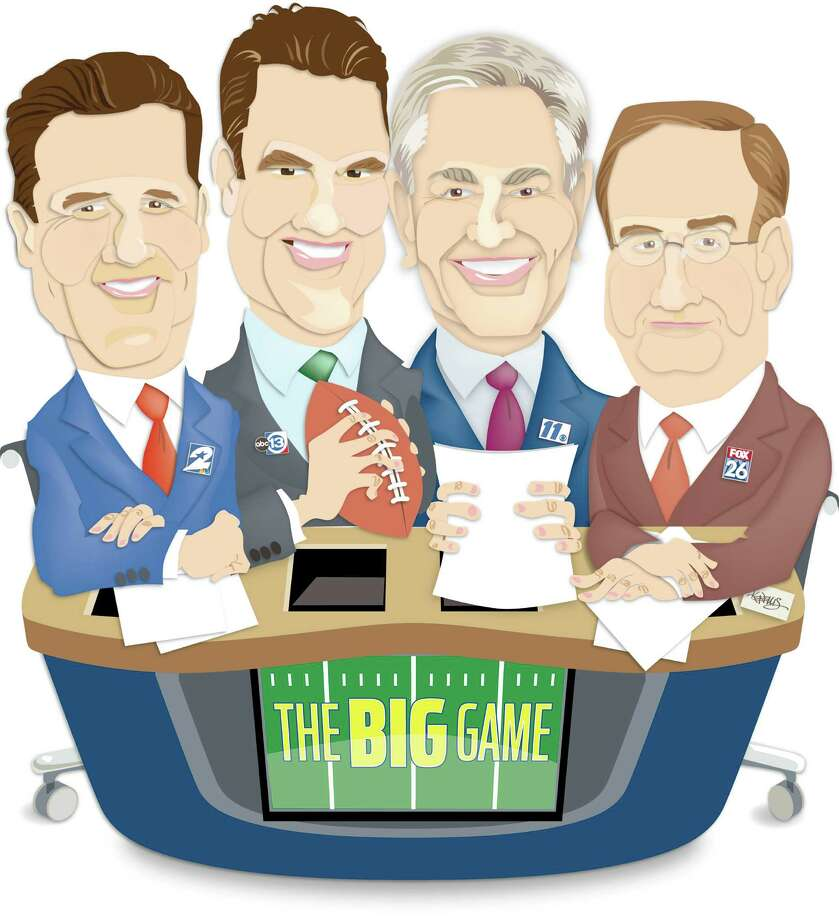 For STAR, Feb. 2: Illustration of four local sports anchors. Ken Hoffman asks them questions about the the Super Bowl and such like. From left: Randy McIlvoy, Channel 2; Greg Baiey, Channel 13; Bob Allen, Channel 11; Mark Berman, Channel 26 Photo: Ken Ellis