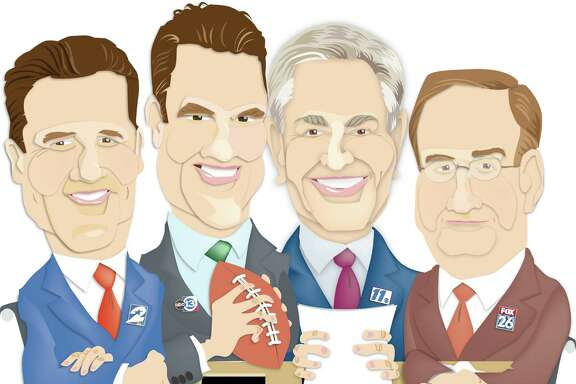 For STAR, Feb. 2: Illustration of four local sports anchors. Ken Hoffman asks them questions about the the Super Bowl and such like. From left: Randy McIlvoy, Channel 2; Greg Baiey, Channel 13; Bob Allen, Channel 11; Mark Berman, Channel 26