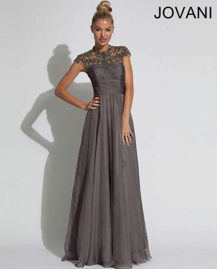 Don't like nude? Try this charcoal Jovani Dress with an embellished top!