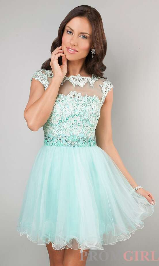 For $230 on PromGirl you can sport this short dress, much easier to walk and dance in compared to the other longer gowns!