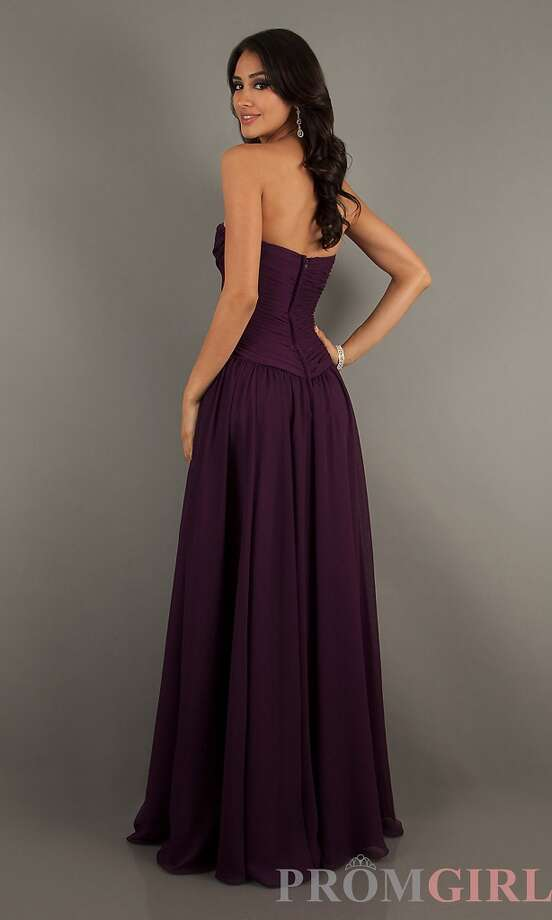 Don't like the nude colors this season? Don't worry, this eggplant color is flattering for almost any skin tone! Available on PromGirl for $164.