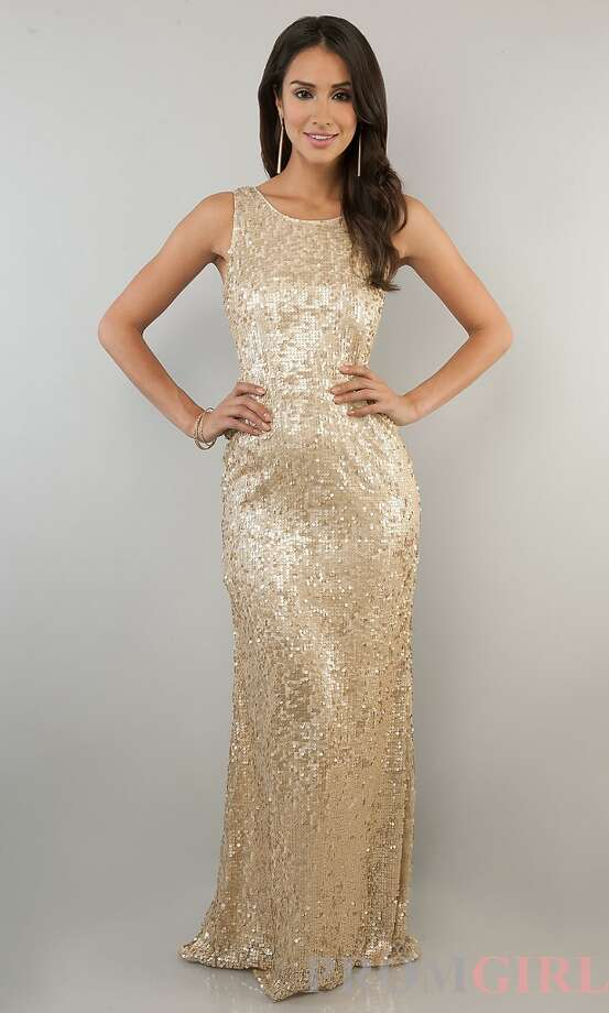 For $89 on PromGirl, this gold sequined gown is sure to turn some heads.