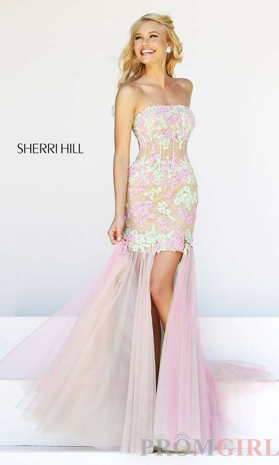 If you're a fan of pastels you're in luck this year! This Sherri Hill dress, sold for $550, showcases the top trends for 2014!