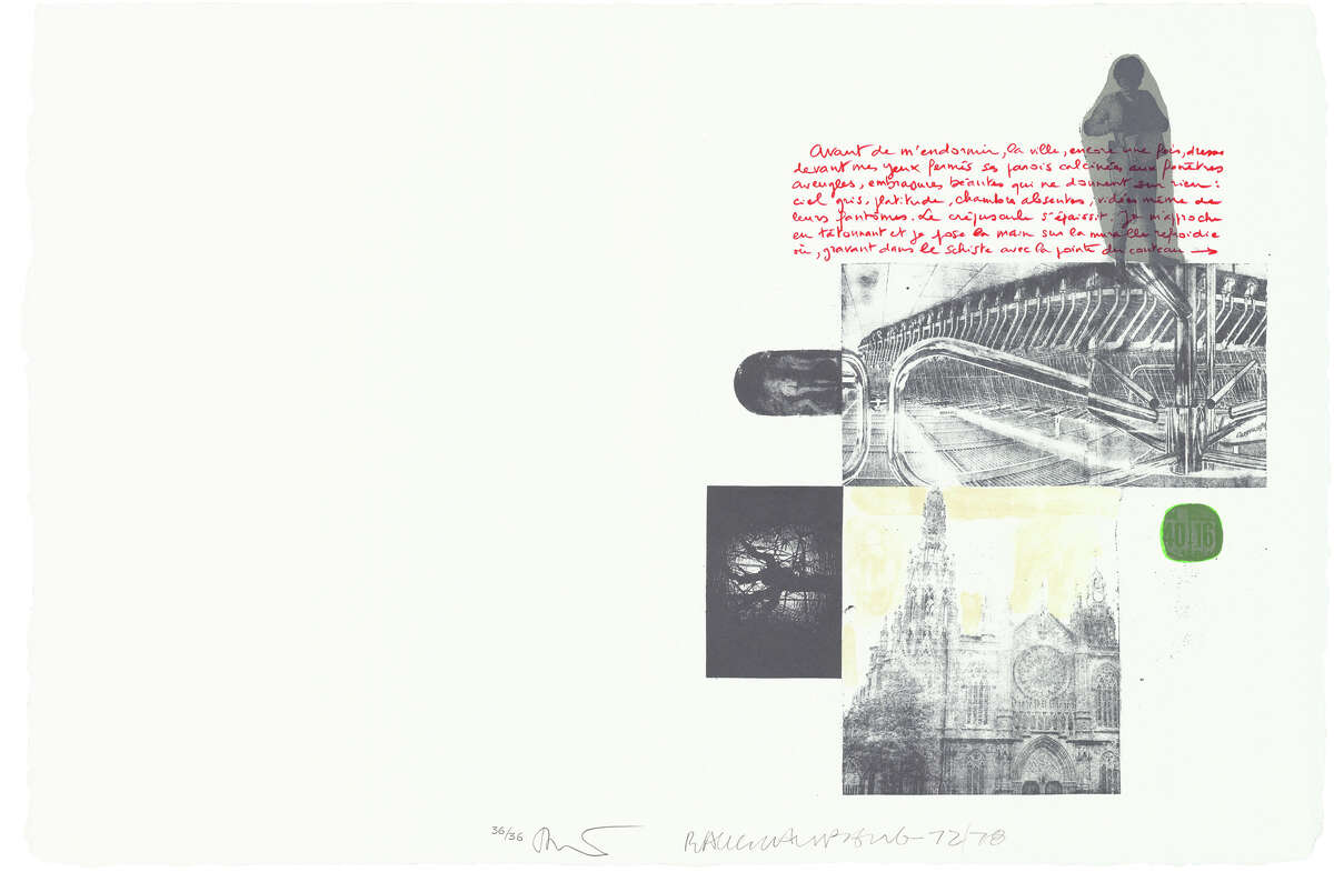 """A detail of Robert Rauschenberg's """"Traces Suspectes en Surface"""" (1978, Portfolio of 36 lithographs on Twinrocker paper in a cloth bound box; 27 3/16 in. x 20 1/2 in.; Edition 36; Published by Universal Limited Art Editions.1978 The Estate of Robert Rauschenberg/ Universal Limited Art Editions/ Licensed by VAGA, New York, NY"""