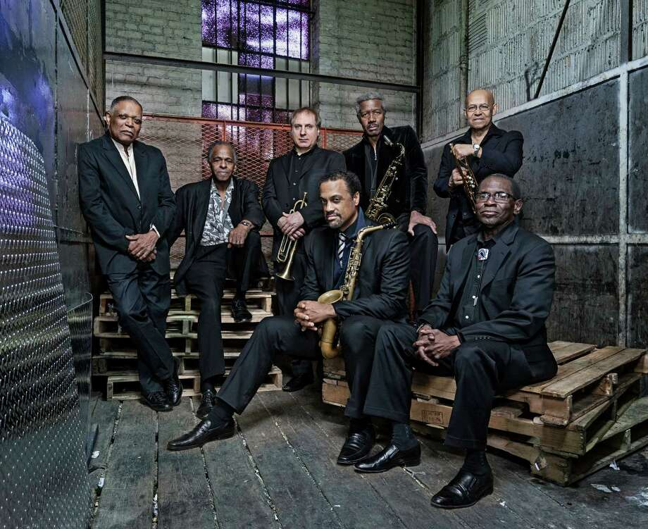 The Cookers are, from left, back row: drummer Billy Hart, bassist Cecil McBee, trumpeter David Weiss, saxophonist Billy Harper and trumpeter Eddie Henderson. Front row: saxophonist Craig Handy and pianist George Cables. Photo: DL Media Music