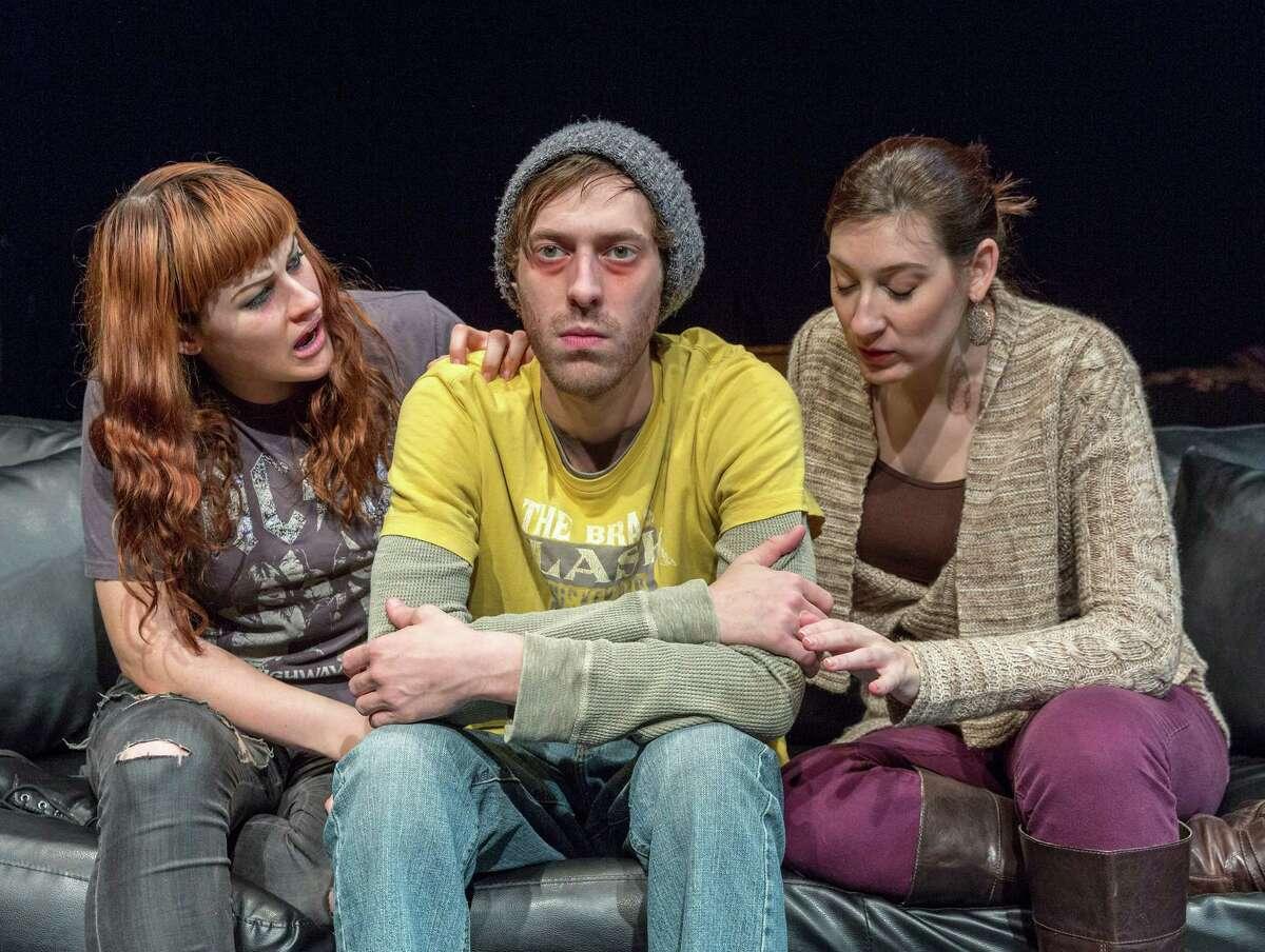 "Jessica Janes, left, John DeLoach and Elissa Levitt star in Catastrophic Theatre's ""clean/through."""