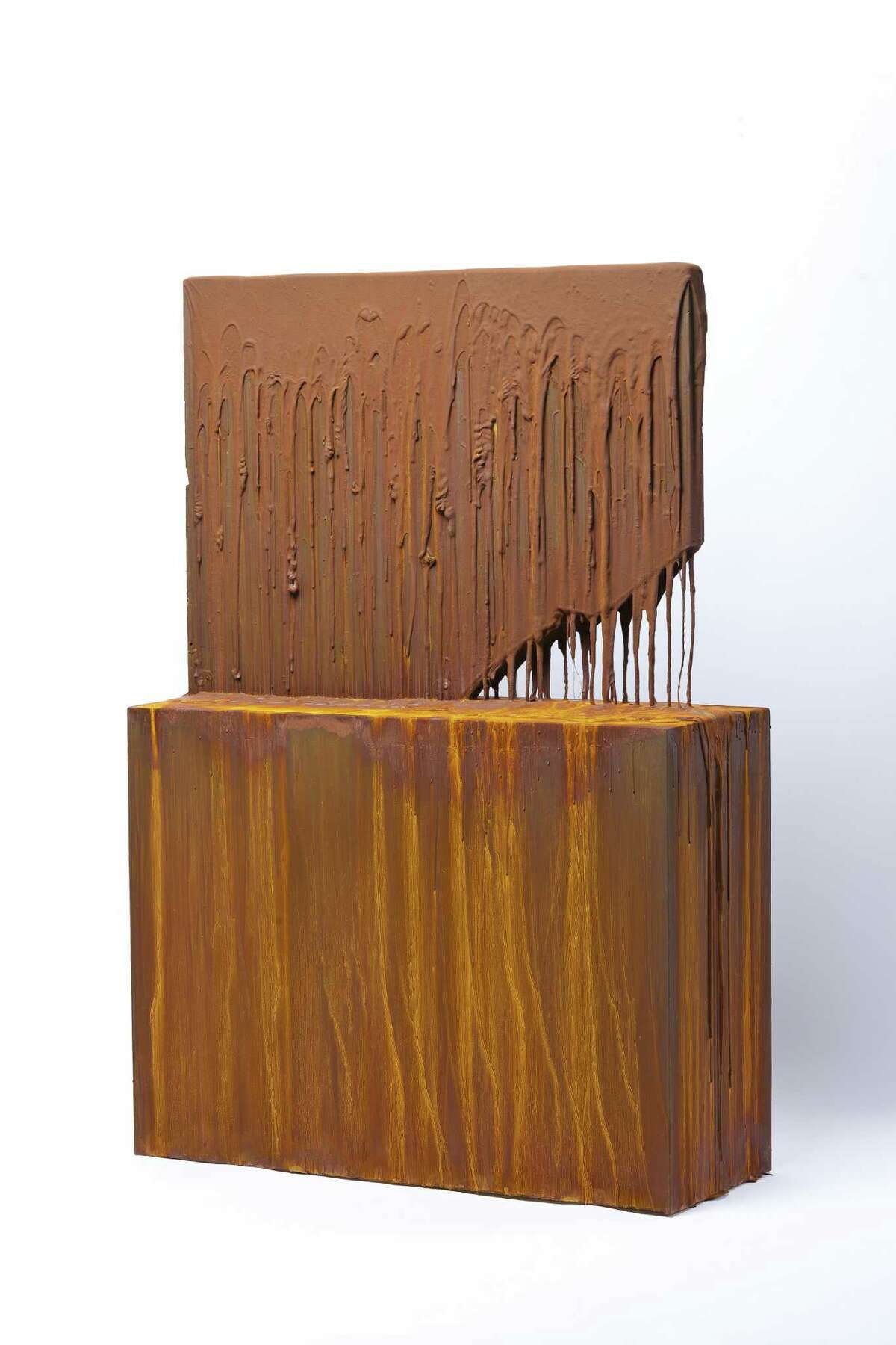 """Joseph Cohen's painted sculpture """"Proposition 395"""" was painstakingly created using a mixture of pigment, gold, iron, varnish and resin."""