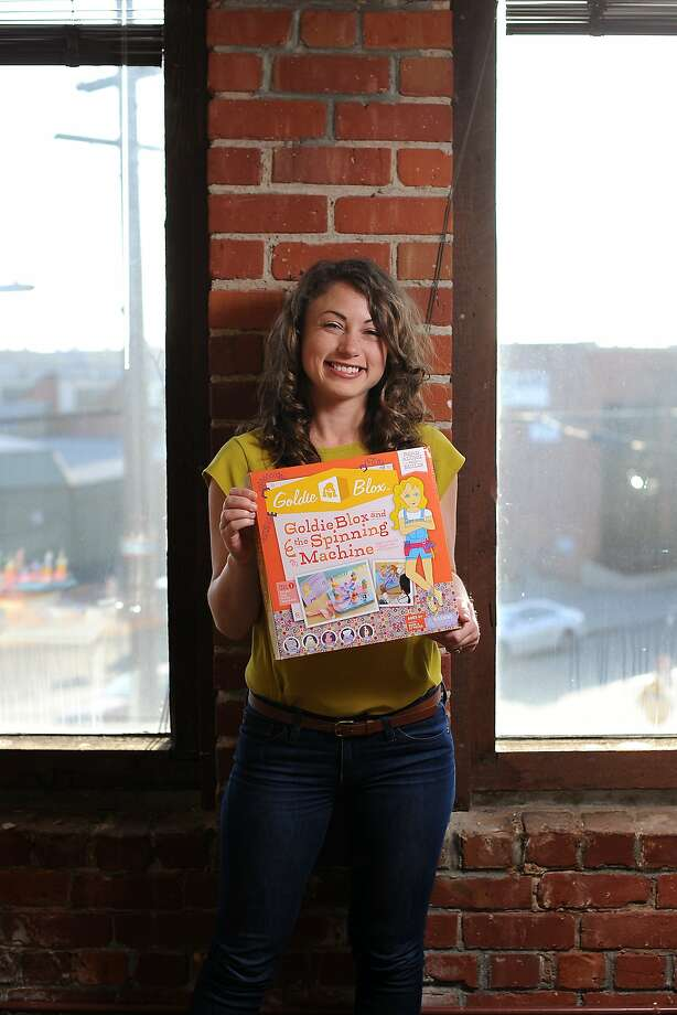 Debbie Sterling, who founded GoldieBlox to encourage girls to study science, shows one of the Oakland firm's toys. Photo: Michael Short, Special To The Chronicle