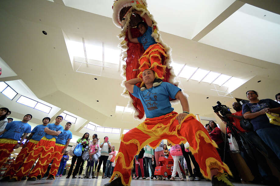 The Chua Buu Mon Lion dancers from Port Arthur performed a Chinese New Year Dragon Dance as a good luck token for local business Elite Nails. The Chinese New Year Dragon Dance was held at Central Mall in Port Arthur on Friday. Michael Rivera/@michaelrivera88