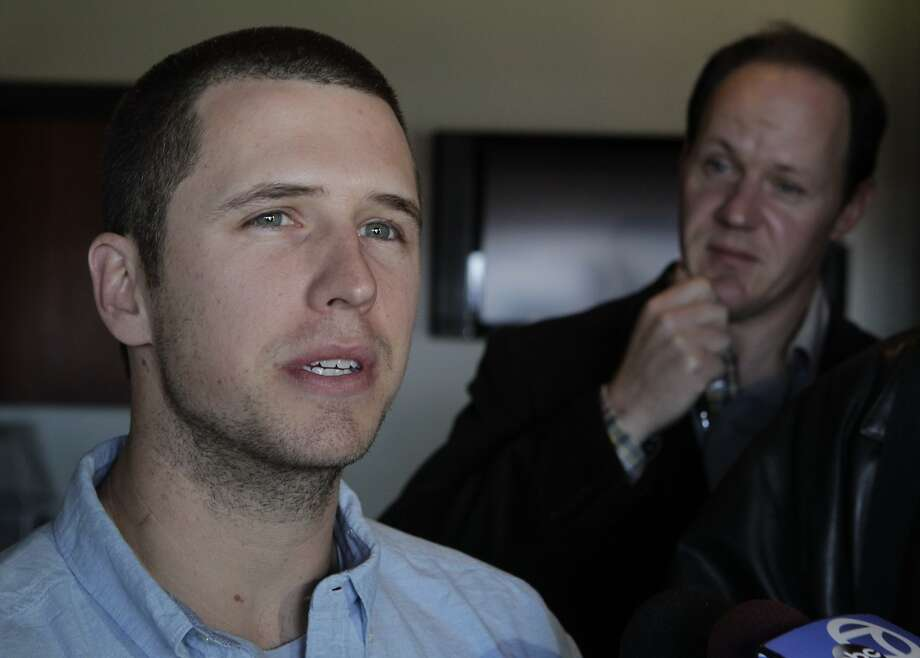 Giants catcher Buster Posey meets with sports reporters at AT&T Park in San Francisco, Calif. on Friday, Jan. 31, 2014. The team's annual FanFest event is Saturday. Photo: Paul Chinn, The Chronicle