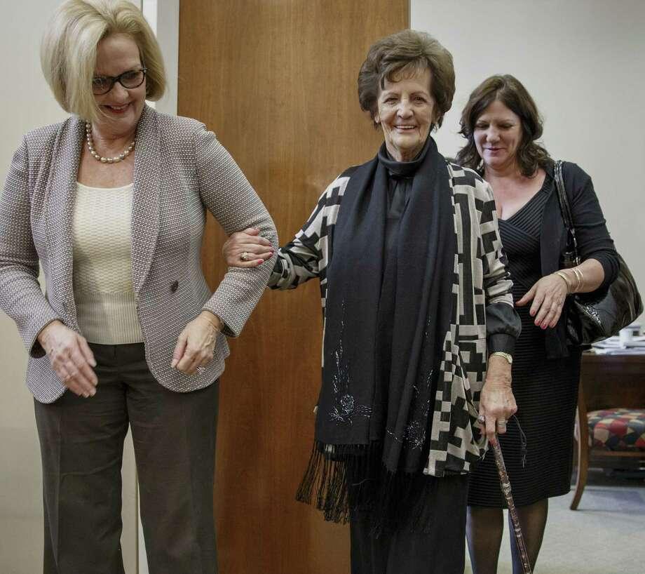 "Philomena Lee (center), the inspiration for the movie ""Philomena,"" meets with  U.S. Sen.  Claire McCaskill (left). Photo: J. Scott Applewhite / Associated Press / AP"