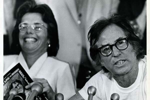 09/19/1973 - Tennis players Billie Jean King and Bobby Riggs hold press conference before Battle of the Sexes exhibition tennis match at the Dome.