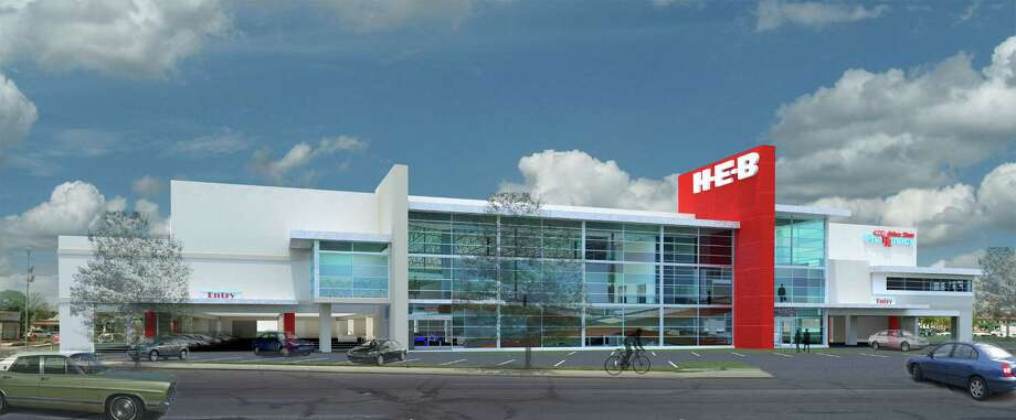 H-E-B plans to demolish its oldest operating store, at 1601 Nogalitos St., and replace it with a multilevel market with parking in the building on the first floor. A wide escalator will carry customers and their grocery carts between both floors. Photo: Illustration Courtesy H-E-B