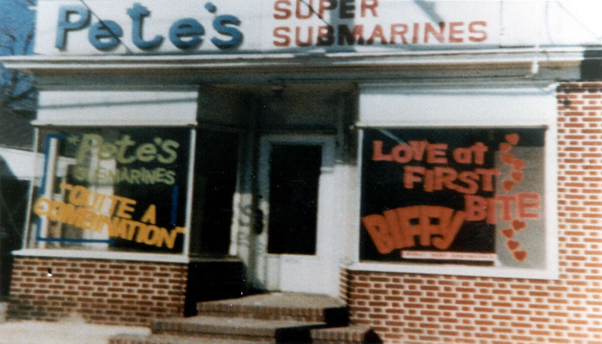 With a $1,000 loan from family friend Peter Buck, of Danbury, 17-year-old Fred DeLuca opened PeteâÄôs Super Submarines, which later became the first Subway sandwich shop in Bridgeport in 1965. 113 First store original name Pete's Super Submarine Sandwic.JPG
