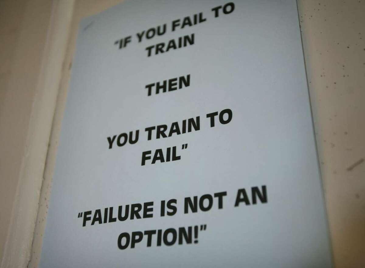 A motivational sign on the wall at the Bridgeport police academy on Newfield Avenue.