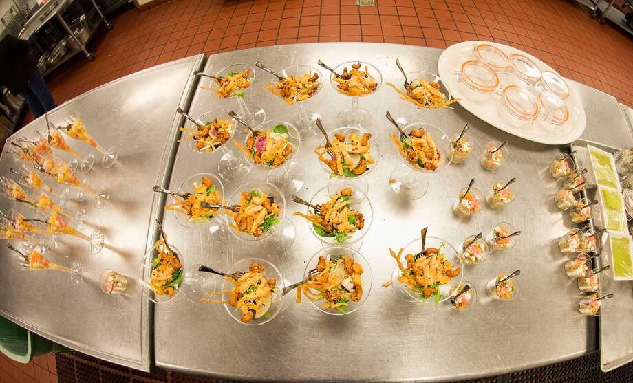 California: General view of the food at the behind the scenes menu tasting for the 56th Annual Grammy Awards at Staples Center. Photo: Valerie Macon, Getty Images