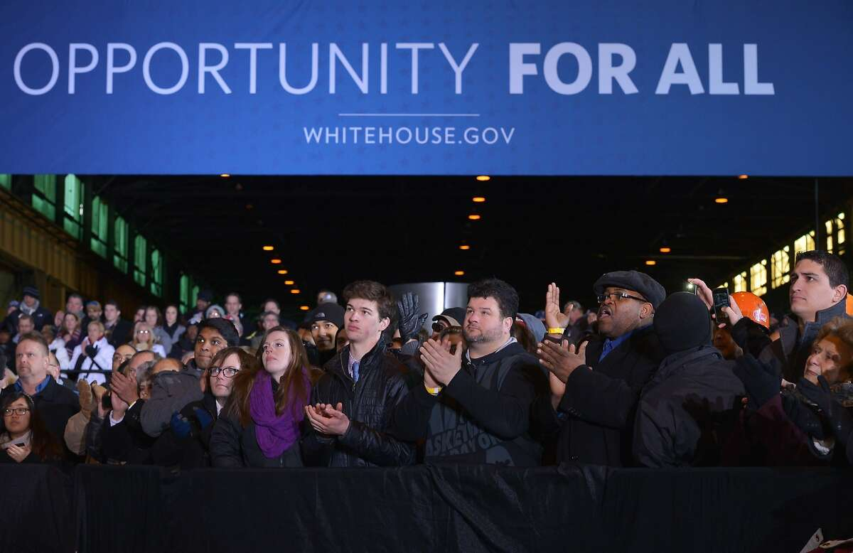 Attendees applaud as US President Barack Obama speaks after a tour the US Steel Irvin Plant in West Mifflin, Pennsylvania on January 29, 2014. Obama was in Pennsylvania to discuss a new proposal, titled MyRA, to help Americans save for retirement. The administration, which says that half of all workers dont have access to employer-sponsored retirement plans, will allow Americans to invest a portion of their salary into government bonds in an account that will be treated like a Roth IRA -- a common type of retirement savings account. AFP PHOTO/Mandel NGANMANDEL NGAN/AFP/Getty Images