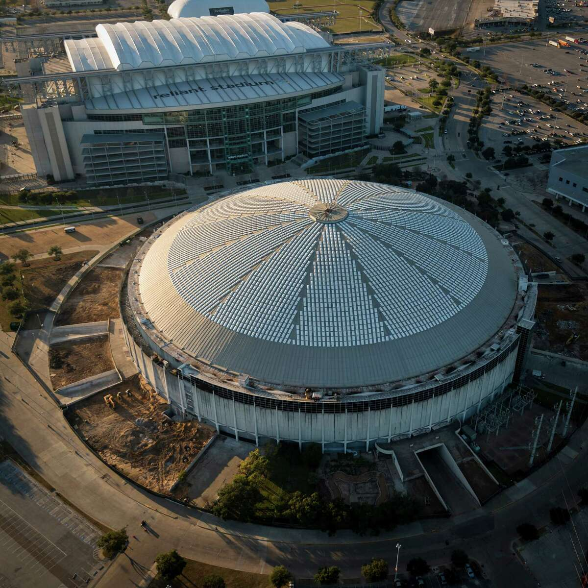 The Reliant Astrodome and Reliant Stadium are seen in an aerial view on Monday, Jan. 20, 2014, in Houston. ( Smiley N. Pool / Houston Chronicle )