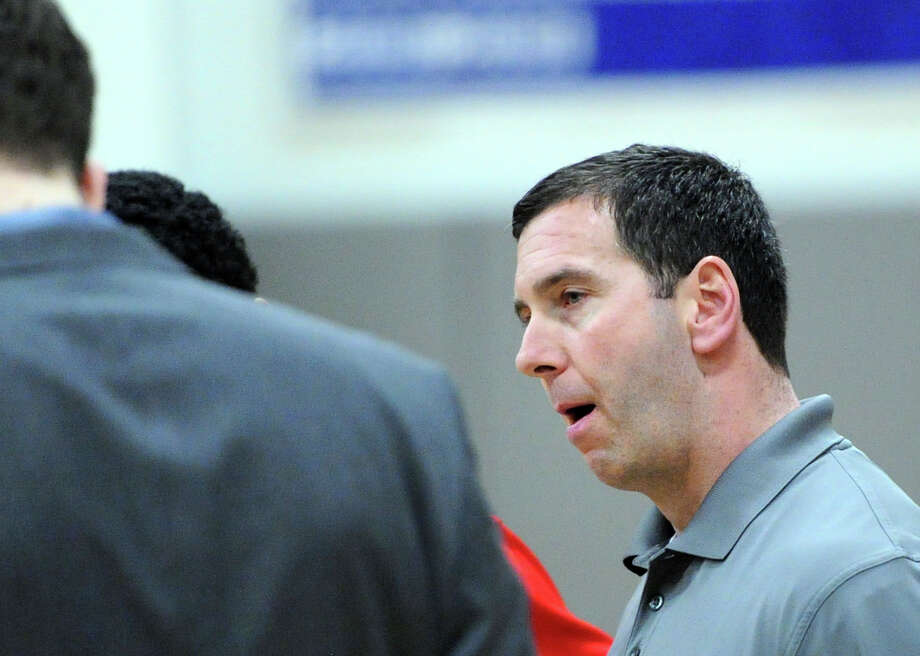 Greenwich High School Boys Basketballl Head Coach, Bill Brehm, during the high school basketball game between Darien High School and Greenwich High School at Darien, Friday night, Jan. 31, 2014. Photo: Bob Luckey / Greenwich Time