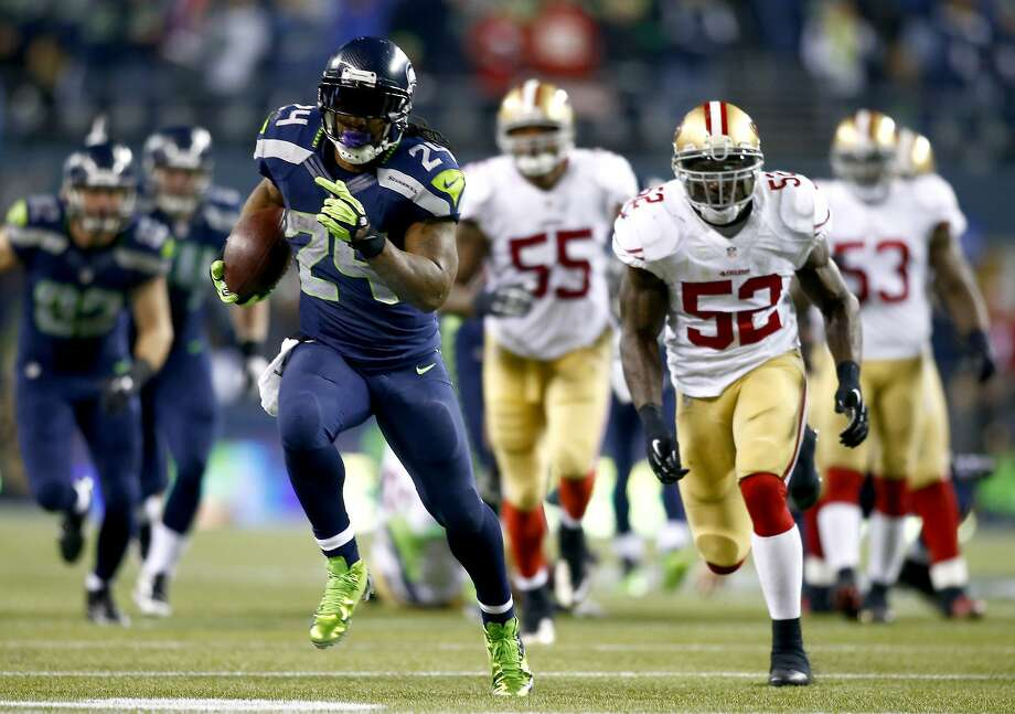 Running back Marshawn Lynch was the driving force behind the Seahawks' offense in the regular season, accounting for 1,257 yards rushing and a career-high 316 receiving. Photo: Jonathan Ferrey, Getty Images