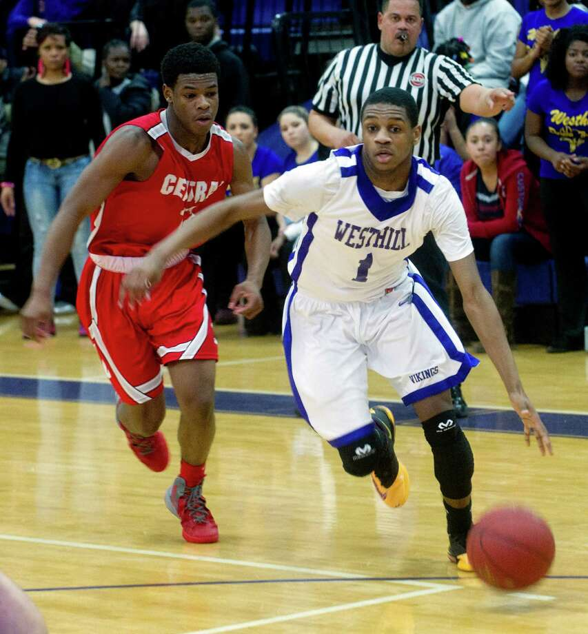 Friday's basketball game against Bridgeport Central at Westhill High School on January 31, 2014. Photo: Lindsay Perry / Stamford Advocate