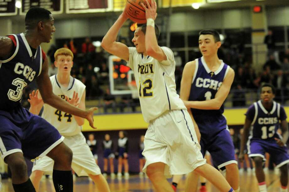 Troy's Zach Radz, center, looks to pass during their basketball game against Catholic Central on Friday, Jan. 31, 2014, at Troy High in Troy, N.Y. (Cindy Schultz / Times Union) Photo: Cindy Schultz / 10025583A