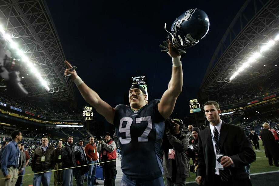 Defensive end Patrick Kerney #97 of the Seattle Seahawks celebrates after the Seahawks defeated the Washington Redskins 35-14 during the NFC Wild Card game at Qwest Field on January 5, 2008 in Seattle, Washington. Photo: Jed Jacobsohn, Getty Images / 2008 Getty Images