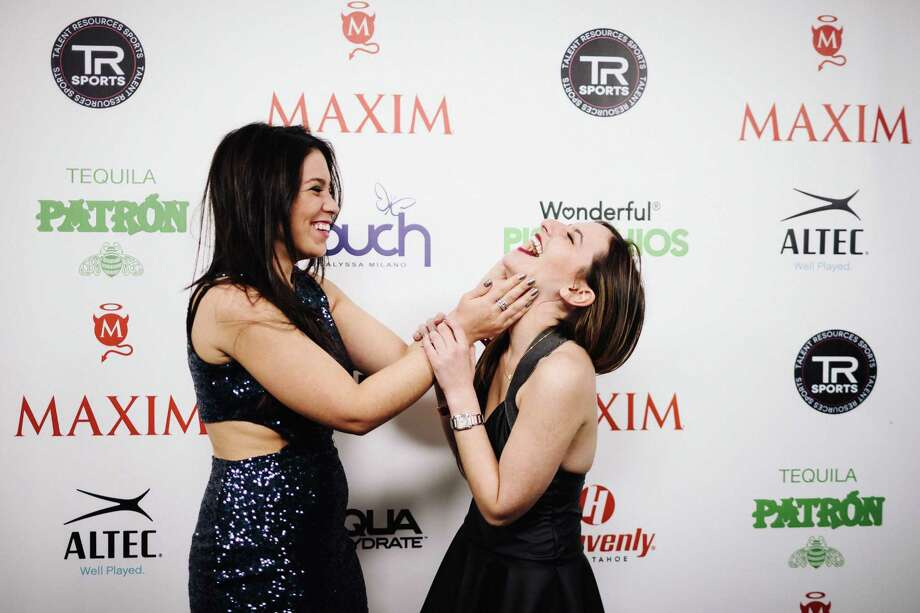 Guests joke around on the red carpet outside of the MAXIM Super Bowl party Saturday, Feb.1, 2014, at Espace in New York City. Photo: JORDAN STEAD, SEATTLEPI.COM / SEATTLEPI.COM