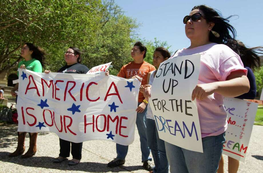 Texas Women's University students stand up for the Dream Act. ( Brett Coomer / Houston Chronicle ) Photo: Brett Coomer, Staff / Houston Chronicle