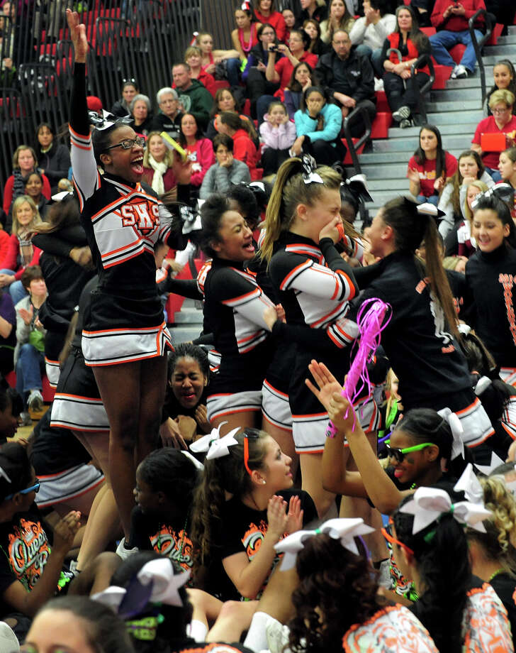 Stamford cheers after winning an award during the 17th Annual 2014 FCIAC Cheerleading Competition at Fairfield Warde High School in Fairfield, Conn. on Saturday February 1, 2014. Photo: Christian Abraham / Connecticut Post
