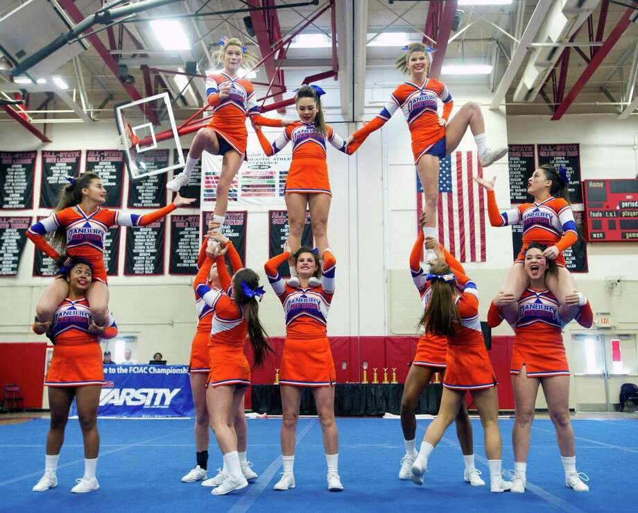 Danbury High School competes in the FCIAC cheerleading championships at Fairfield Warde High School in Fairfield, Conn., on Saturday, February 1, 2014. Photo: Lindsay Perry / Stamford Advocate