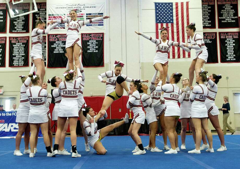 St. Joe's High School competes in the FCIAC cheerleading championships at Fairfield Warde High School in Fairfield, Conn., on Saturday, February 1, 2014. Photo: Lindsay Perry / Stamford Advocate