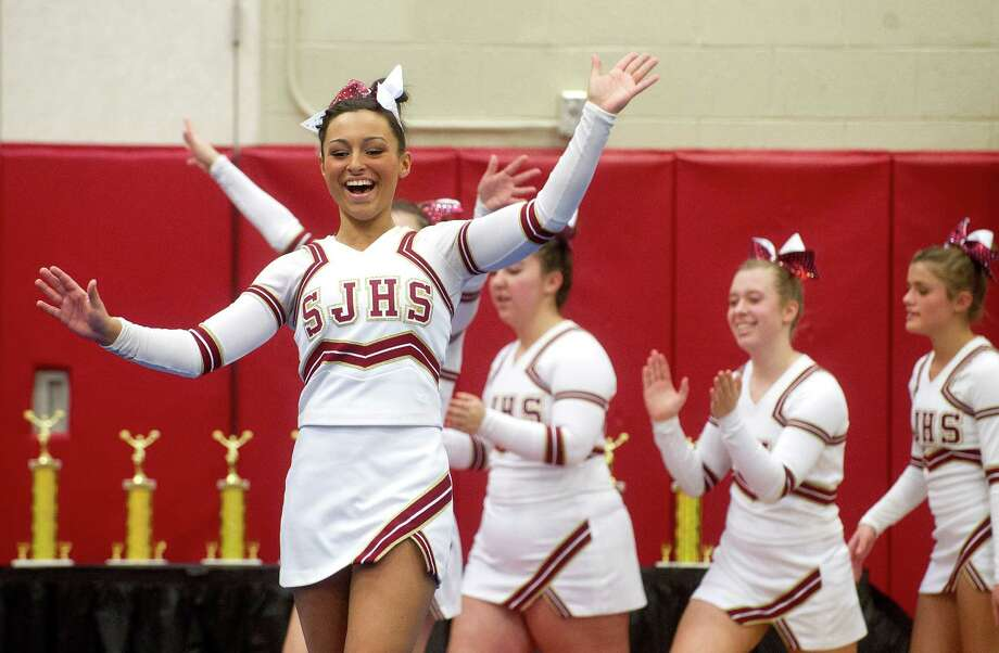 Marissa Trafecante of St. Joe's High School competes in the FCIAC cheerleading championships at Fairfield Warde High School in Fairfield, Conn., on Saturday, February 1, 2014. Photo: Lindsay Perry / Stamford Advocate