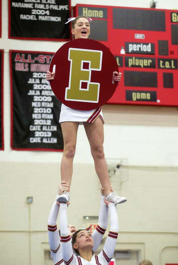 Jenna Giampaolo of St. Joe's High School competes in the FCIAC cheerleading championships at Fairfield Warde High School in Fairfield, Conn., on Saturday, February 1, 2014. Photo: Lindsay Perry / Stamford Advocate