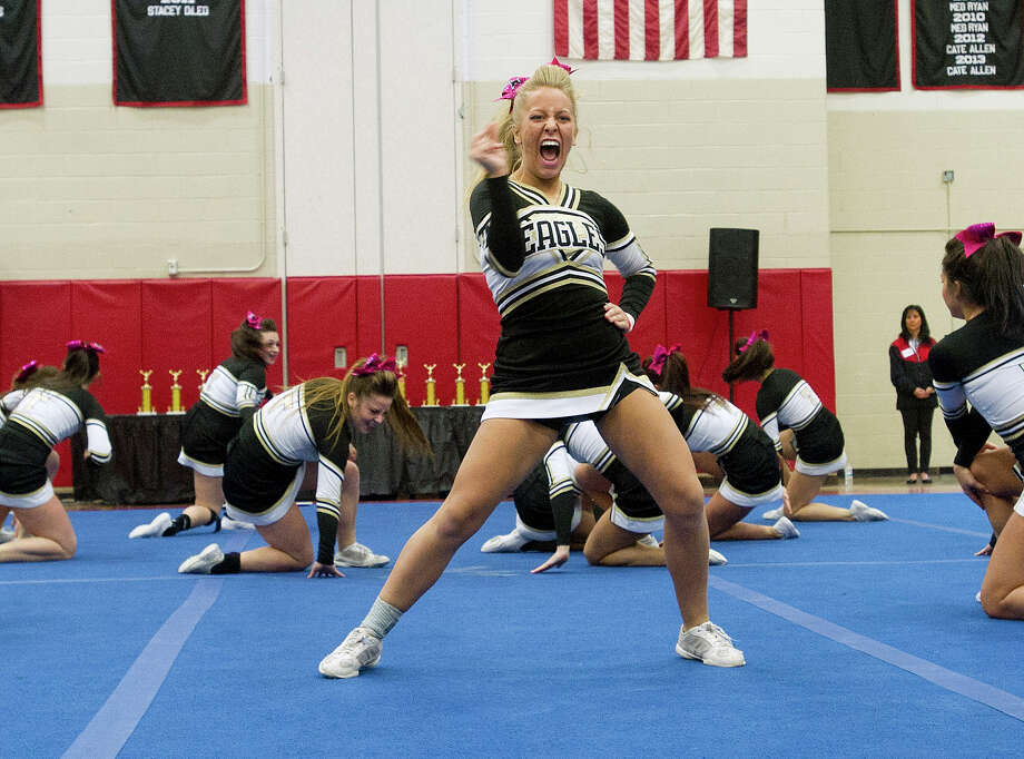 Trumbull High School competes in the FCIAC cheerleading championships at Fairfield Warde High School in Fairfield, Conn., on Saturday, February 1, 2014. Photo: Lindsay Perry / Stamford Advocate
