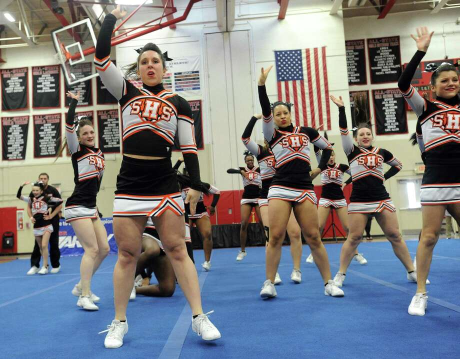 Stamford High School competes in the FCIAC cheerleading championships at Fairfield Warde High School in Fairfield, Conn., on Saturday, February 1, 2014. Photo: Lindsay Perry / Stamford Advocate