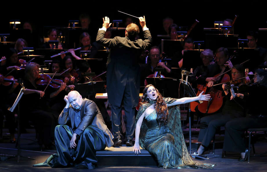 """Alan Held as the """"Water Sprite""""(left) and Joyce El-Khoury as """"Rusalka"""" perform Friday Jan. 31, 2014 at the Majestic Theatre during """"Rusalka"""" part of the Dvorak Festival a co-presentation of The Opera San Antonio and the San Antonio Symphony. Photo: Edward A. Ornelas, San Antonio Express-News / © 2014 San Antonio Express-News"""