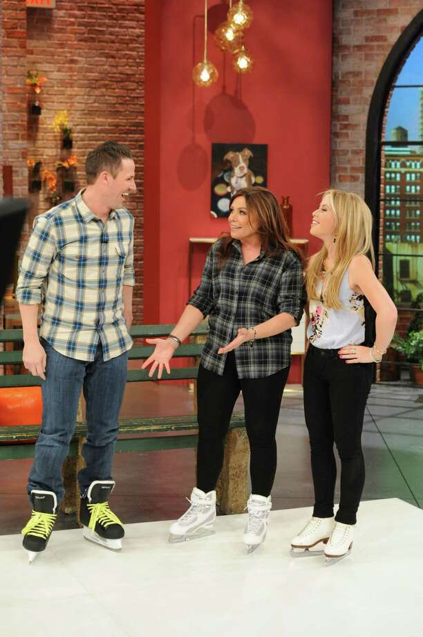 "Chad Hedrick is a guest on the ""Rachael Ray Show"" with Tara Lipinski, right, and Ray. Ray and the former Olympians were on skates for the first part of the show. Then, Lipinski and Hedrick competed in a cookoff. The episode airs this week."