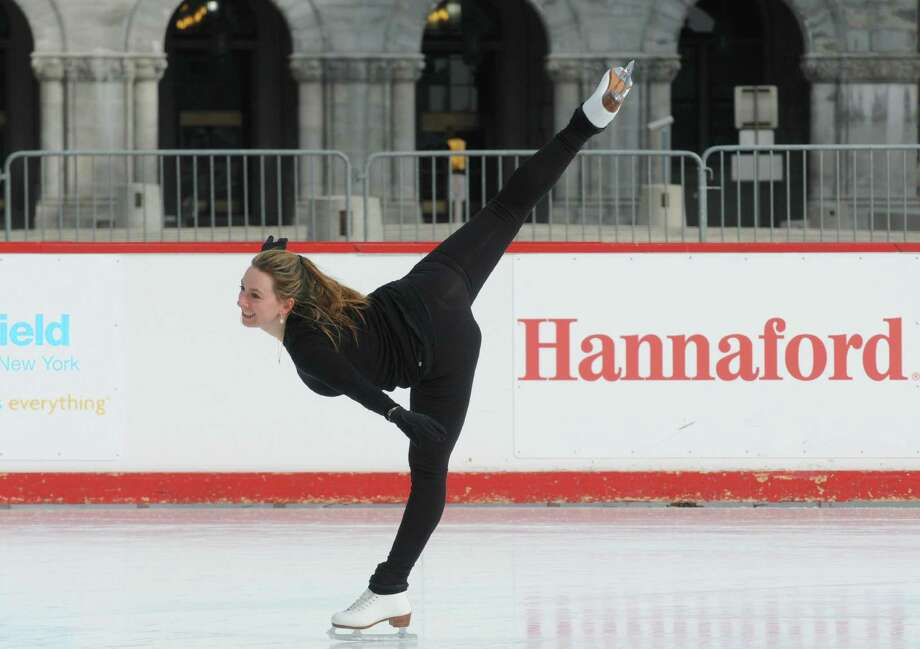 Sarah Hughes, winner of the gold medal in women's singles figure skating at the 2002 Olympic Games, gives a skating demonstration sponsored by Hannaford Supermarkets at the Empire State Plaza on Saturday Feb. 1, 2014 in Albany, N.Y. (Michael P. Farrell/Times Union) Photo: Michael P. Farrell / 00025466A