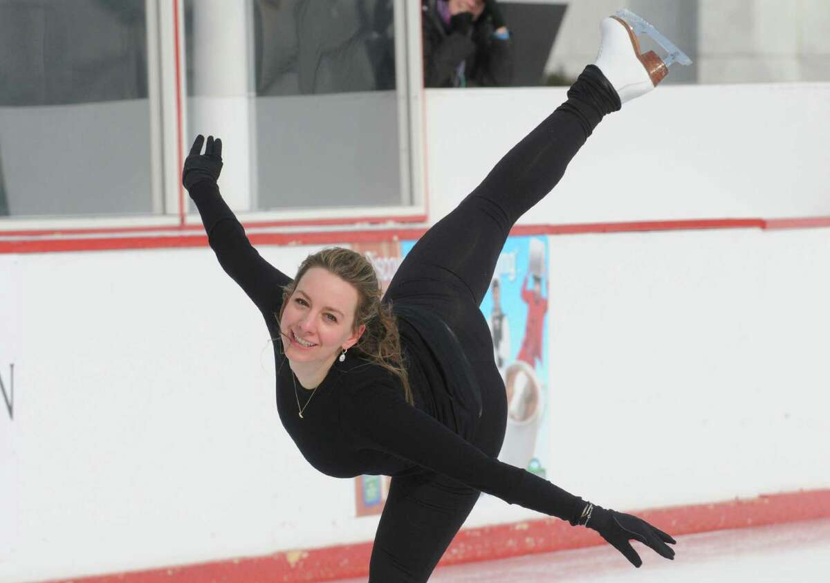 Sarah Hughes, winner of the gold medal in women's singles figure skating at the 2002 Olympic Games, gives a skating demonstration sponsored by Hannaford Supermarkets at the Empire State Plaza on Saturday Feb. 1, 2014 in Albany, N.Y. (Michael P. Farrell/Times Union)