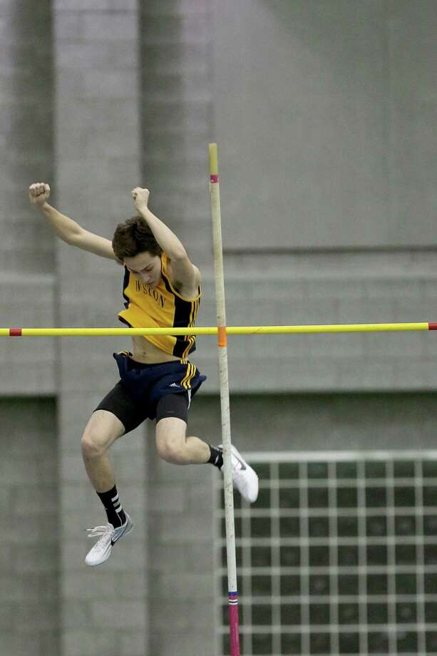Weston High School's Will Crum clears 11 ft. during the Pole Vault competition at Saturday's SWC Track Championships held at the Floyd Litttle Athletic Center in New Haven. Photo: Mike Ross / Mike Ross Connecticut Post freelance -www.mikerossphoto.com